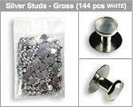 GROSS (144 PIECES) BAG OF STUDS - WHITE & SILVER TONE