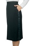 SEGAL POLYESTER WOMEN'S BLACK TUXEDO SKIRT - BELOW THE KNEE