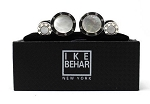 IKE BEHAR MOTHER OF PEARL ROUND SILVER TONE CUFFLINK & STUD SET