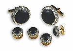 """CRYSTALS"" BLACK IN GOLD SETTING STUDS & CUFFLINKS SET"
