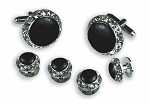 """CRYSTALS"" BLACK IN SILVER SETTING STUDS & CUFFLINKS SET"