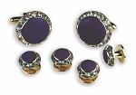 """CRYSTALS"" PURPLE STUDS & CUFFLINKS SET"