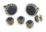"""CRYSTALS"" NAVY IN GOLD SETTING STUDS & CUFFLINKS SET"