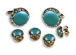 """CRYSTALS"" TEAL STUDS & CUFFLINKS SET"