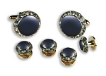"""CRYSTALS"" ROYAL BLUE STUDS & CUFFLINKS SET"