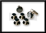 SILVER TONE STUD AND CUFF LINK SET - PEARL GREY INSET