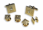 ORNATE SQUARE CUFF LINK & STUD SET W/ CLEAR STONE CENTER