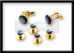 GOLD TONE STUD AND CUFF LINK SET - PEARL GREY INSET