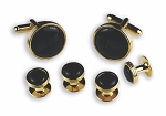 ROUND RING OF RIDGES BLACK STUDS & CUFFLINKS SET