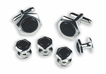 HEXAGON CUFF LINK & STUD SET W/ BLACK ENAMEL STONE