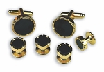 CASTLE BLACK ONYX STUDS & CUFFLINKS SET