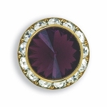 AUSTRIAN CRYSTAL SURROUND BUTTON COVER W/ AMETHYST DIAMOND TIP CENTER