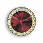 AUSTRIAN CRYSTAL SURROUND BUTTON COVER W/ RUBY DIAMOND TIP CENTER