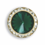 AUSTRIAN CRYSTAL SURROUND BUTTON COVER W/ EMERALD DIAMOND TIP CENTER