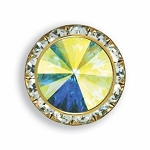 AUSTRIAN CRYSTAL SURROUND BUTTON COVER W/ PRISM DIAMOND TIP CENTER