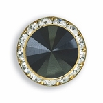 GOLD TONE AUSTRIAN CRYSTAL SURROUND BUTTON COVER W/ BLACK DIAMOND TIP CENTER