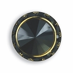 BLACK AUSTRIAN CRYSTAL SURROUND BUTTON COVER W/ BLACK DIAMOND TIP CENTER