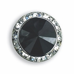 SILVER TONE AUSTRIAN CRYSTAL SURROUND BUTTON COVER W/ BLACK DIAMOND TIP CENTER
