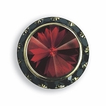 BLACK AUSTRIAN CRYSTAL SURROUND BUTTON COVER W/ RUBY DIAMOND TIP CENTER