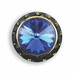 BLACK AUSTRIAN CRYSTAL SURROUND BUTTON COVER W/ SAPPHIRE DIAMOND TIP CENTER