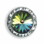 AUSTRIAN CRYSTAL SURROUND BUTTON COVER W/ MARDI GRAS DIAMOND TIP CENTER