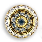 AUSTRIAN CRYSTAL SURROUND BUTTON COVER W/ CRYSTAL FLOWER CENTER