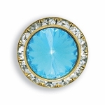 AUSTRIAN CRYSTAL SURROUND BUTTON COVER W/ LT BLUE DIAMOND TIP CENTER