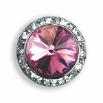AUSTRIAN CRYSTAL SURROUND BUTTON COVER W/ LT PINK DIAMOND TIP CENTER