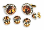 TOPAZ STONE W/ CRYSTAL SURROUND CUFF LINK & STUD SET