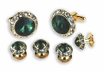 EMERALD STONE W/ CRYSTAL SURROUND CUFF LINK & STUD SET