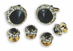 BLACK STONE W/ CRYSTAL SURROUND CUFF LINK & STUD SET