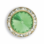 AUSTRIAN CRYSTAL SURROUND BUTTON COVER W/ LT GREEN DIAMOND TIP CENTER