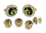 MARDI GRAS STONE W/ CRYSTAL SURROUND CUFF LINK & STUD SET