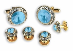 LT BLUE STONE W/ CRYSTAL SURROUND CUFF LINK & STUD SET