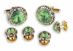 LT GREEN STONE W/ CRYSTAL SURROUND CUFF LINK & STUD SET
