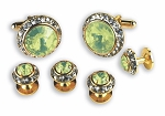 LT YELLOW STONE W/ CRYSTAL SURROUND CUFF LINK & STUD SET