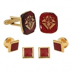 GOLD KNIGHTS OF COLUMBUS STUD & CUFF LINK SET