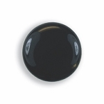 CLASSIC PLAIN BUTTON COVER W/ BLACK ENAMEL CENTER - SILVER TONE