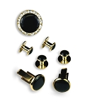 BLACK & GOLD CUFF LINK & STUD SET W/ CRYSTAL BUTTON COVER