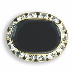 OVAL AUSTRIAN CRYSTAL SURROUND BUTTON COVER W/ BLACK ENAMEL CENTER