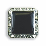 SQUARE AUSTRIAN CRYSTAL SURROUND BUTTON COVER W/ BLACK ENAMEL CENTER