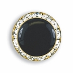 CRYSTAL BUTTON COVER W/ BLACK ENAMEL CENTER - GOLD TONE
