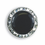 CRYSTAL BUTTON COVER W/ BLACK ENAMEL CENTER - SILVER TONE