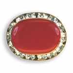 OVAL AUSTRIAN CRYSTAL SURROUND BUTTON COVER W/ RED ENAMEL CENTER
