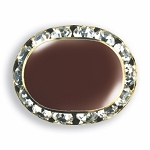 OVAL AUSTRIAN CRYSTAL SURROUND BUTTON COVER W/ BURGUNDY ENAMEL CENTER
