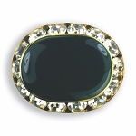 OVAL AUSTRIAN CRYSTAL SURROUND BUTTON COVER W/ HUNTER GREEN ENAMEL CENTER
