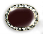 OVAL AUSTRIAN CRYSTAL SURROUND BUTTON COVER W/ BROWN ENAMEL CENTER