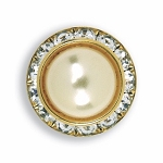 AUSTRIAN CRYSTAL SURROUND BUTTON COVER W/ IVORY PEARL STONE CENTER