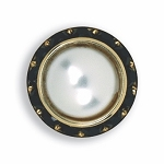 BLACK AUSTRIAN CRYSTAL SURROUND BUTTON COVER W/ WHITE PEARL STONE CENTER