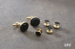 CLASSIC ROUND CUFF LINK & STUD SET W/ BLACK ENAMEL CENTER
